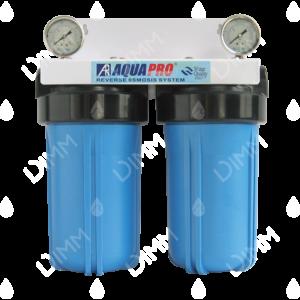 Purificateur d'eau système jumelé Big Blue 10'' avec manomètres verticaux raccordement 1''