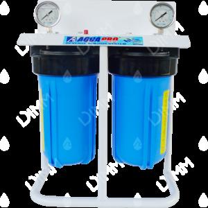 Purificateur d'eau système jumelé Big Blue 10'' avec manomètres + trépied avec raccordement 1''