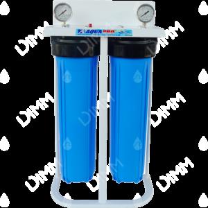 Purificateur d'eau système jumelé Big Blue 20'' avec manomètres verticaux - raccordement 1''