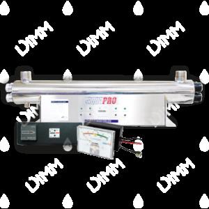 Stérilisateur UV horizontal 48 GPM (10900 L/h) avec compteur horaire + moniteur